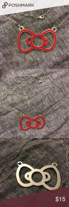 Sanrio Hello Kitty Bow Necklace Sanrio Hello Kitty long red bow necklace Hello Kitty Jewelry Necklaces