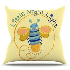 East Urban Home Little Night Bug by Jane Smith Outdoor Throw Pillow
