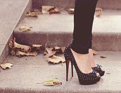 Black Stiletto Pumps with Studs fashion shoes black high heels stilettos studs pump toe peek Louboutin Shoes, Christian Louboutin, Shoes Heels, Black Louboutins, Sexy Heels, Nice Heels, Jeans Heels, Pretty Heels, Punk Shoes