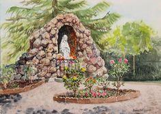 Crockett California Saint Rose of Lima Church Grotto by Irina Sztukowski ~ Blessed Virgin Mary grotto ~ watercolor