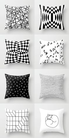 pillow black and white Happy dog II gift for kids cute dog pillow scandi pillow monochrome pillow decoration cushion