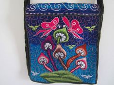 Buy unisex crossbody Indian embroidered bag with mushroom design psychedelic design hippie style multicolored trendy bag by elephantsofindia. Explore more products on http://elephantsofindia.etsy.com