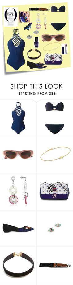 """Stylish swim suit..."" by jamuna-kaalla ❤ liked on Polyvore featuring Post-It, Mikoh, Marysia Swim, RetroSuperFuture, Jennifer Meyer Jewelry, Antica Murrina, Love Moschino, Pierre Hardy, Sydney Evan and Vanessa Mooney"
