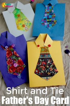 Homemade Shirt and Tie Father's Day Card for Kids to Make - Happy Hooligans perfect fathers day gift, wood fathers day gifts, candy fathers day gifts Diy Father's Day Gifts Easy, Homemade Fathers Day Gifts, Father's Day Diy, Homemade Gifts, Diy Gifts, Cute Art Projects, Toddler Art Projects, Toddler Crafts, Daycare Crafts