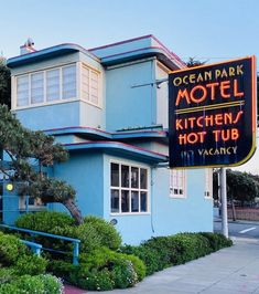 This Ole House, Ocean Park, Motel, San Francisco, Neon Signs, Sunset, Reading, Building, Beach