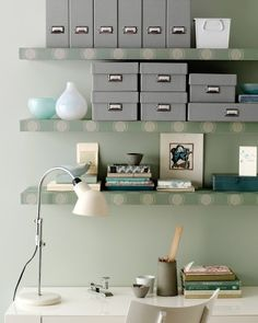 Love this idea: How to wallpaper shelves to freshen them up and give a room more style