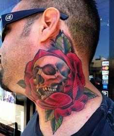 Skull and Roses Tattoos for Men Neck
