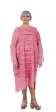 Pink Frill Cotton Tunic-Dress