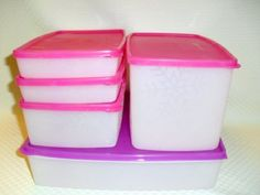 Tupperware Freezer Square Rounds Large 5pc Store & Freeze Ultimate Set by Tupperware. $66.98. 1 each 5.5 cup Medium Rectangle (1.3L). Sheer Ice containers with Snowflake Design  and Fuschia Kiss Pink and Watermelon Pink Colored Seal. 2 each 2.5 cup Shallow Rectangle (600 mL). 1 each 12.5 cup Large Shallow Rectangle (3L). 1 each 11.5 cup Deep Rectangle (2.8L). All-Time Classic Favorites! Modular containers stack and nest for convenient storage.    Ideal for sto...