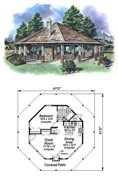 COOL House Plan ID: chp-14581 | Total living area: 695 sq ft, 1 bedroom & 1 bathroom. #houseplan #octogonal