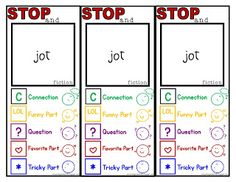 """Presenting. my fiction """"stop and jot"""" bookmarks! I created these bookmarks for two reasons: To remind students of the symbols t. Reading Resources, Reading Strategies, Teaching Reading, Guided Reading, Reading Post, Reading Activities, Teacher Resources, Readers Notebook, Readers Workshop"""