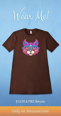 99a8ffb6755b All Seeing Tribal Cat - Geeky Pixel Art Animal T-Shirt. Now available on  Amazon! Colorful Cat Tee for Geeks   Gamers!