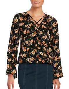 Design Lab Lord & Taylor Floral Wrap Top Women's Black X-Small