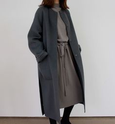 Chic Style - taupe dress & grey collarless coat