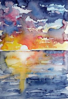 ARTFINDER: Sunrise on sea by Kovács Anna Brigitta - Original watercolour painting on high quality watercolour paper. I love landscapes, still life, nature and wildlife, lights and shadows, colorful sight. Thes...