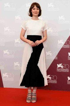 Mia Wasikowska in monochrome at Venice Film Festival