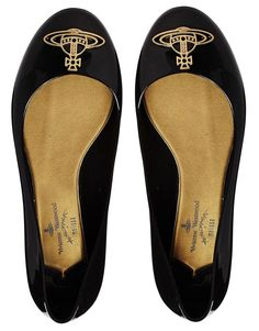 Vivienne Westwood For Melissa Black Divine Orb Logo Flat Shoes