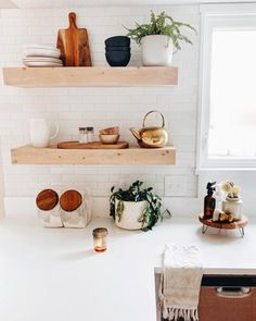 Favorite Neutral Paints & Stains | Full Hearted Home Kitchen Shelves, Diy Kitchen, Kitchen Vent Hood, Cube Storage Shelves, Build A Fireplace, Woven Wood Shades, Exterior Stain, Kitchen Table Makeover, Big Pillows