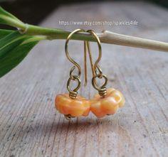 Flower Earrings Orange Dangle Brass Wire Handmade by sparkles4life