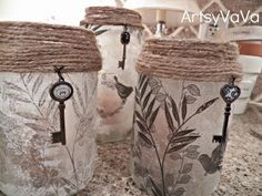 Artsy VaVa: Upcycled Pickle & Olive Jars wow- would've never guessed. Mason Jar Projects, Mason Jar Crafts, Mason Jar Diy, Bottle Crafts, Bottles And Jars, Glass Jars, Candle Jars, Candle Holders, Fun Crafts