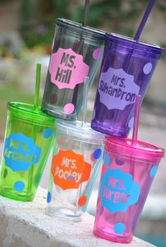 Cute tumblers personalized. I need to figure out this for Alayna's end of the year teacher gifts!