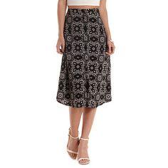 Tile Print Button-Up Full Midi Skirt