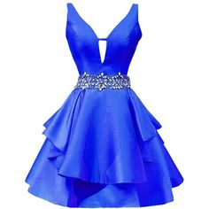 Icy Sun Women's V Neck Crystals Homecoming Dresses A Line Satin Short... ($68) ❤ liked on Polyvore featuring dresses, gowns, short a line dresses, blue ball gown, satin ball gown, homecoming dresses and satin gown