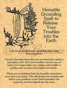 Hematite Grounding Spell, Book of Shadows Pages, BOS Pages, Real Witchcraft