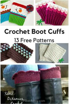 13 Free Boot Cuff Patterns for Crochet. Boot Cuffs aka Leg Warmers or Boot Toppers are THE boot accessory! We have many crochet patterns for hats, scarves, gloves and more for crochet and knitting Crochet Boot Cuff Pattern, Knitted Boot Cuffs, Crochet Boots, Knit Boots, Crochet Patterns, Fun Patterns, Crochet Ideas, Knitting Patterns, Hat Crochet