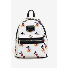 Disney Mickey Mouse Allover Print Mini Backpack ($60) ❤ liked on Polyvore featuring bags, backpacks, mini rucksack, rucksack bags, mini zip bags, miniature backpack and white backpack