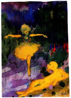 Emil Nolde (1867 — 1956, Germany) Dancer and Man lying.  watercolor and gouache on Japanese paper. 24 x 17.1 cm.