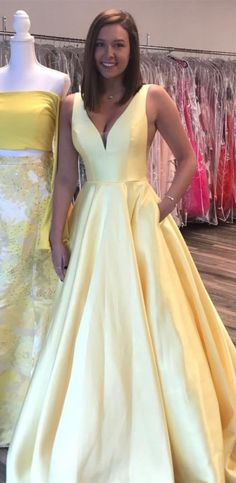Formal Prom Dresses, yellow long prom dress, simply elegant yellow long prom dress with pockets Brickell Bridal Pageant Dresses For Teens, 2 Piece Homecoming Dresses, Prom Dresses With Pockets, Elegant Bridesmaid Dresses, Tulle Prom Dress, Sexy Dresses, Evening Dresses, Formal Dresses, Long Dresses