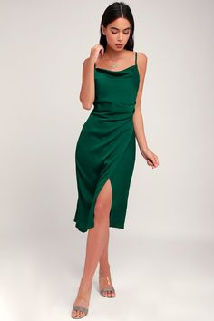 d062f9670a2b Hollywood Woman Forest Green Satin Midi Dress