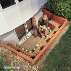 Love this idea. Bring a flood of light into a dreary basement with a terraced window well. You also get an emergency escape route, planting beds and a view. Build this well as part of an egress window project or simply landscape an existing window well. Insulating Basement Walls, Basement Window Well, Basement Windows, Basement Finishing, Basement Ceilings, Basement Flooring, Basement Waterproofing, Damp Basement, Flooring Ideas