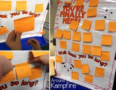 First day of school anchor chart for You're finally Here! by Melanie Watt