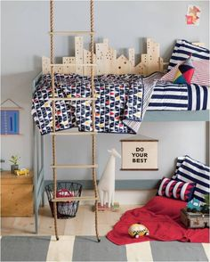 "It would shine thru the ""windows of the skyscrapers"" for a ""nighttime scene"" ----mommo design: BOY'S ROOMS Grey Boys Rooms, Kids Rooms, Kids Bedroom, Bedroom Decor, Bedroom Ideas, Ideas Dormitorios, Deco Kids, Kids Room Design, Kid Spaces"