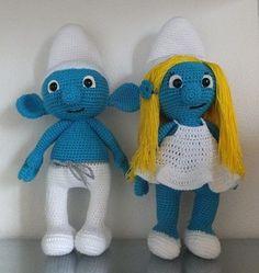 Smurf + Smurfette, crochet amigurumi