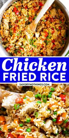 Easy Chicken Fried Rice is a quick and simple dinner you can make any night of the week. This stir fry is ready in just 30 minutes, full of healthy vegetables and kid-friendly, too - you can even make it if you don't have any leftover rice on hand! | #recipes #chicken #chickendinner #healthy #healthyrecipes #easydinner #dinner #dinnerrecipes #chickenfoodrecipes #chickenrecipes #kidfriendly Chicken Fried Rice Recipe Easy, Crispy Baked Chicken, Best Chicken Recipes, Veggie Recipes, Cooking Recipes, Best Healthy Dinner Recipes, Weeknight Recipes, Easy Family Dinners, Quick Easy Meals