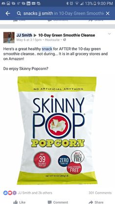 Skinny Pop Original Popcorn, 1 oz Bags, Pack of Multicolor Jj Smith Green Smoothie, 10 Day Green Smoothie, Green Smoothie Cleanse, Smoothie Diet, Gluten Free Popcorn, Smoothie Challenge, Pop Popcorn, Eating For Weightloss, Gourmet