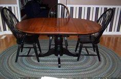Gunstock table top and melamine black paint.