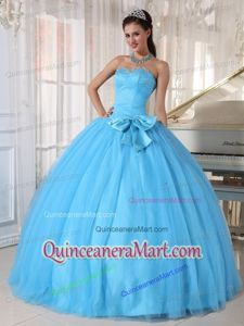 Aqua Blue Ball Gown Sweetheart Tulle Beading and Bowknot Quinceanera Dresses