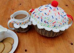 Handmade Crochet Decorative Tea Cozy Teapot Cover Cherry Cupcake Cup Cake Muffin