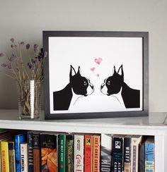 Boston Terriers in Love art print  8x10 giclee by sloeginfizz, $25.00