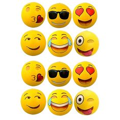 Pool Birthday Party Toys 12 Emoji Beach Balls Inflatable 12 with Air Pump