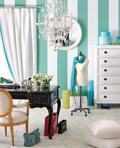 10 ways to add Tiffany Blue-inspired hues to your home - Style At Home Tiffany Blue Walls, Tiffany Blue Bedroom, Tiffany Blue Office, Blue Striped Walls, Striped Room, Tiffany Blue Wallpapers, Blue Wall Colors, Paint Colors, Colours