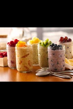 Betty Crocker Overnight Oatmeal  1 container Greek yogurt  1/4 cup old fashioned oats  1/4 cup fruit   Refrigerate overnight in mason jar or other sealed container for a quick and healthy breakfast. Yum!