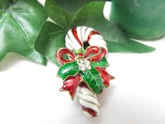 Vintage Ornate Candy Cane Bells  Bows and by vintagejewelrycloset