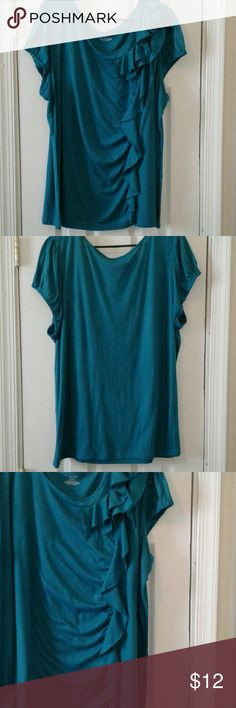Lane Bryant Women's Top Teal green, short elastic sleeves, side ruffled decor, light weight. Good with jeans, capris or shorts. Very good condition. Lane Bryant Tops