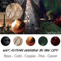 """Wet, Autumn Evening in the City"" Wedding Theme with Black, Gold, Copper, Dark Green, Dark Red #weddingpalette #weddingtheme"