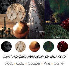 """""""Wet, Autumn Evening in the City"""" Wedding Theme with Black, Gold, Copper, Dark Green, Dark Red #weddingpalette #weddingtheme"""